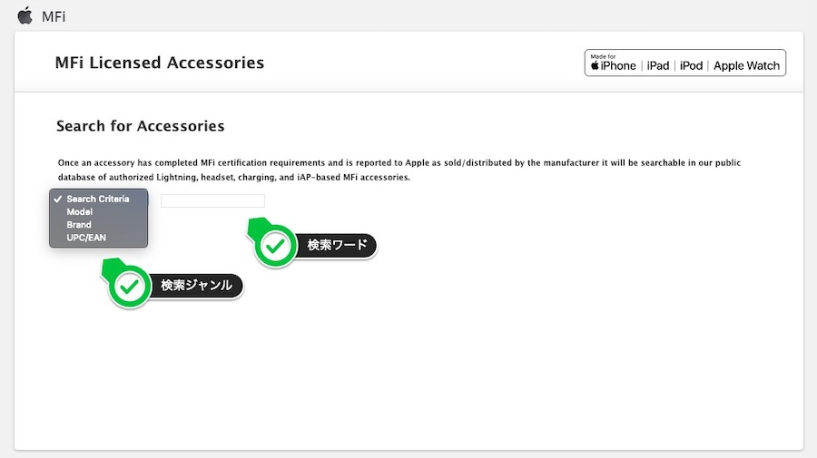 MFi Licensed Accessoriesで調べられるカテゴリー